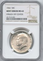 1964 Kennedy Half Dollar Off-Center NGC MS-62 Struck Off-Center (5%). Very Frosty & Nice. Error Coins
