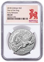Year of the Dog 1 oz Silver Lunar Coin 2018 Great Britain NGC MS70 ER SKU49607