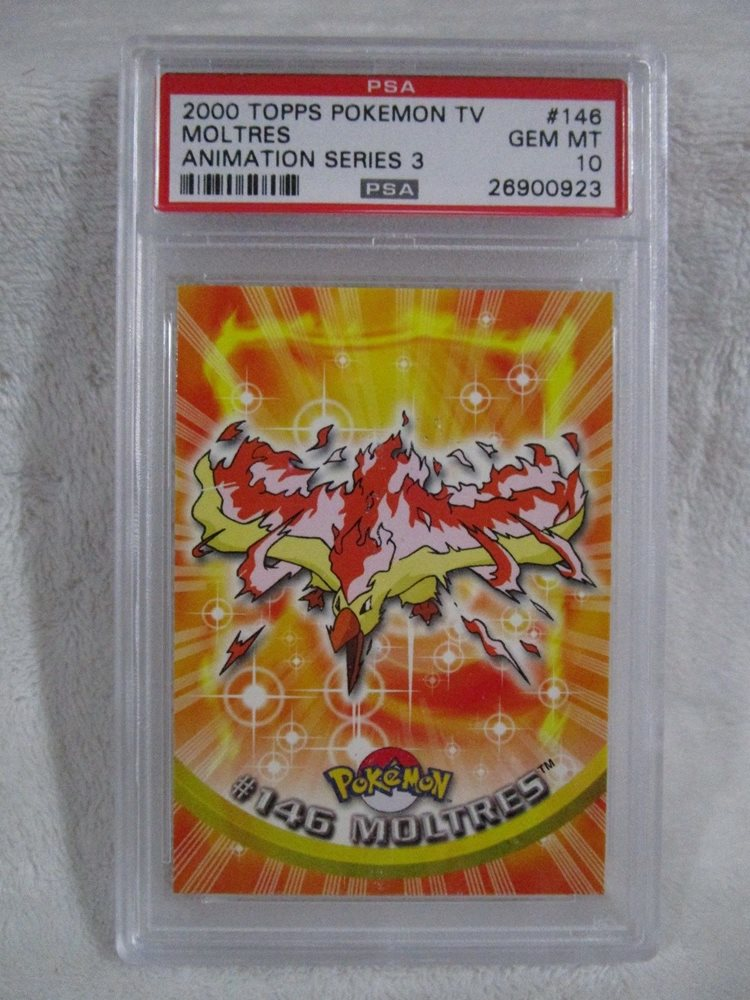 PSA 10 GEM MINT Moltres Topps Series 3 Pokemon TV Card #146 S26