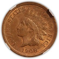 SOLD 1908 S Indian Head Cent NGC Mint State 63 Red-Brown