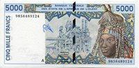 5000 Francs 1999 Elfenbeinküste L'afrique De L'ouest marktszene Paper