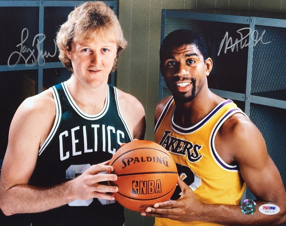 reputable site f0535 f0422 Magic Johnson & Larry Bird Autographed Signed Autograph Basketball 11x14  Photo Celtics/Lakers PSA/DNA 1174CUSTOM FRAME YOUR JERSEY