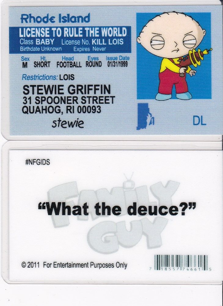Family Rhode Collectible Drivers Stewie Guy Island Card