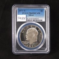 1971 Eisenhower Silver Proof Dollar, PCGS PR69DCAM, Deep Cameo Proof, Super Gem Uncirculated