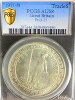 1911-B Great Britain Trade $1 PCGS Certified AU58 Prid-21 Hong Kong Coin