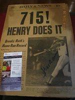 Hank Aaron 715 4/9 1974 Daily News Signed full paper JSA