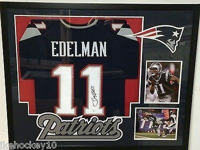 8b39caccb FRAMED JULIAN EDELMAN AUTOGRAPHED SIGNED NEW ENGLAND PATRIOTS JERSEY JSA.  Click To Enlarge