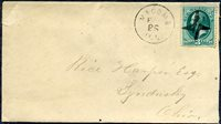 #147, VF, sound, canceled by an XF SOTN strike of a fancy split 4-point star, MACOMB, ILL postmark on fine cover to Sandusky, Ohio, neatly opened at right. Killer unlisted in major references.