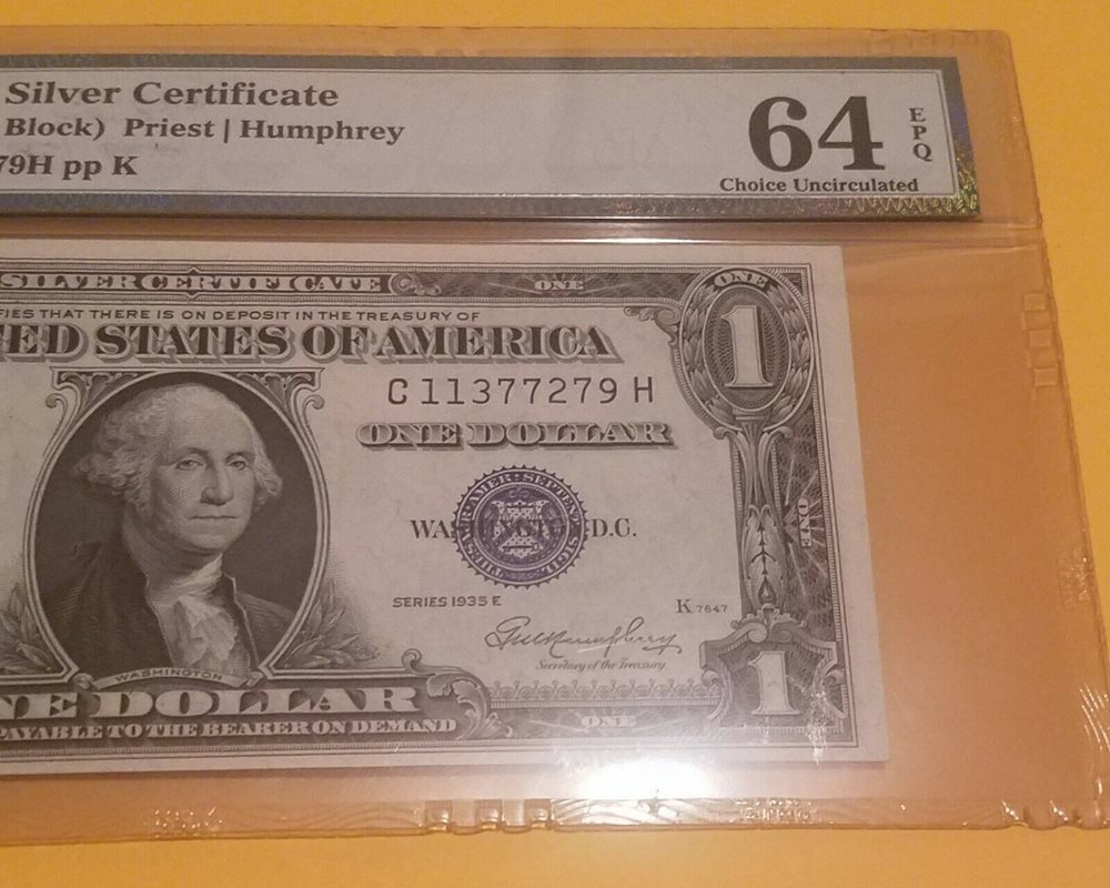Fr#1615. PMG 64 Choice Uncirculated EPQ 1935 F One Dollar Silver Certificate