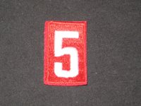 Red and White Embroidered Numeral 5 Boy Scout Patches, Lot of 8 ig