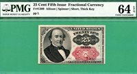 FIFTH ISSUE FRACTIONAL 25 Cent WALKER - Fr 1309 SHORT THICK KEY - PMG CU 64 EPQ
