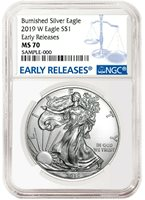 Blue Label Early Releases 2017 W Burnished Silver Eagle NGC MS70