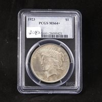 1923 Peace Silver Dollar, PCGS MS64+, Gem Uncirculated, Graded in Holder