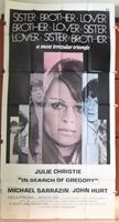 """IN SEARCH OF GREGORY {Julie Christie} 3sht Org 41""""x81"""" Movie Poster 1960s"""