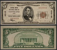 Cleveland OH $5 1929 T-1 National Bank Note Ch #4318 Central United NB Gem CU