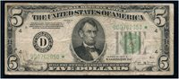 $5 1934B Cleveland. **STAR** note in Fine or better. Rare in any condition. Serial D00762050*.