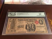 1865 $1 ORIGINAL THE TOMPKINS COUNTRY NB, ITHACA, NY CH. #1561 PCGS 25 VERY FINE