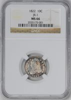 1822 CAPPED BUST 10C PCGS MS 65