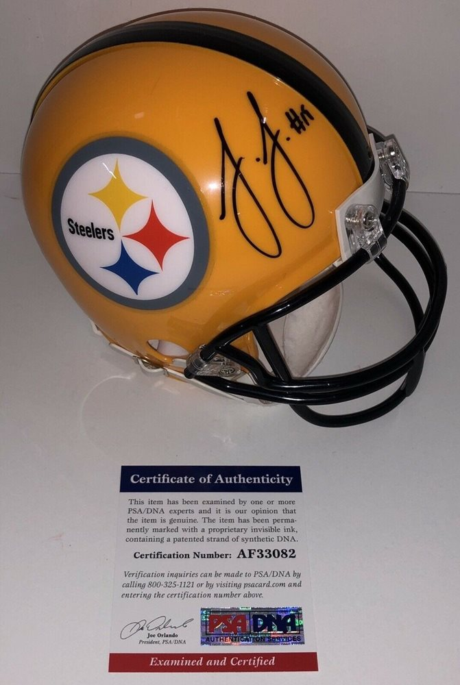 hot sale online 04b9a d161f Juju Smith Schuster Autographed Signed Pittsburgh Steelers Mini Helmet  PSA/DNA - Authentic MemorabiliaCUSTOM FRAME YOUR JERSEY