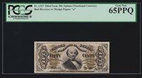 US 50c Fractional Currency Letter 'a' Red Back FR 1327 PCGS 65 PPQ GEM CU (020)