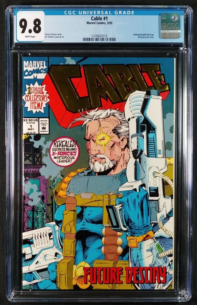 Cable #1 CGC 9 8! White Pages! Gold Foil Cover! (Marvel Comics 1993)