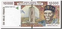 10,000 Francs West African States Banknote, 1992, Km:114aa