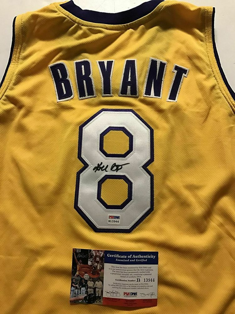 Autographed//Signed Kobe Bryant #8 Los Angeles Yellow Basketball Jersey PSA//DNA COA