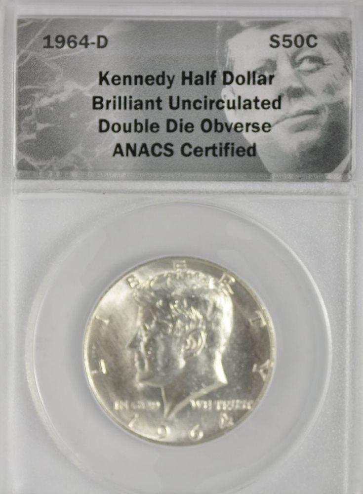 1964-D Kennedy Half Dollar Double Die Obverse ANACS BU