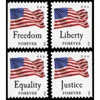 #4673-76 Four Flags, Set of Four Singles from Convertible Book of Ten (Avery)