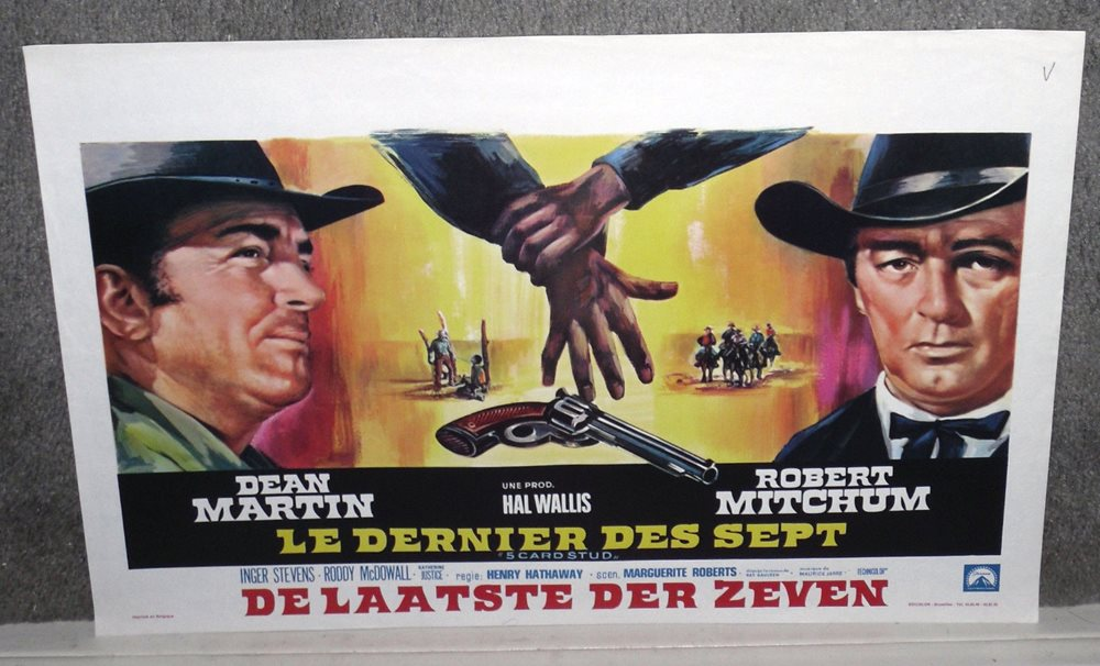 Card Stud Original Rare Movie Poster Dean Martin Robert Mitchum Click To Enlarge