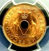 PCGS MS65RD Secure-Rhodesia & Nyasaland 1958 Giraffes 1/2 Penny GEMBU Scarce