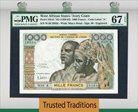 1000 Francs 1959-65 West African States / Ivory Coast Pmg 67 Epq