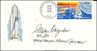 ELLISON ONIZUKA (Astronaut-NASA) 1946-1986. Signed cover honoring the space program. The cover is postmarked January 24, 1985 from the Kennedy Space Center. Onizuka died in 1986 when the Challenger exploded upon takeoff. A very desirable signed cover…99.00