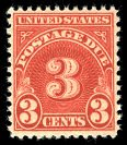 #J82b 3¢ Due, scarlet, wet printing, middle issue.