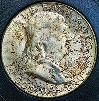 "1948 D Franklin Half Dollar 50 Cent 1948-D/D BEAUTIFULLY NATURAL TONE FROM ORIGINAL MINT SET "" ERROR COIN FS-801 DDR PLUS D/D MINT MARK"" Half Dollar MS-67 + FULL BELL LINES FIDUCIARY GRADING & ATTRIBUTION"