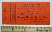1951 Bed-Stuy Brooklyn Church New York Annual Picnic Ticket Heckscher State Park