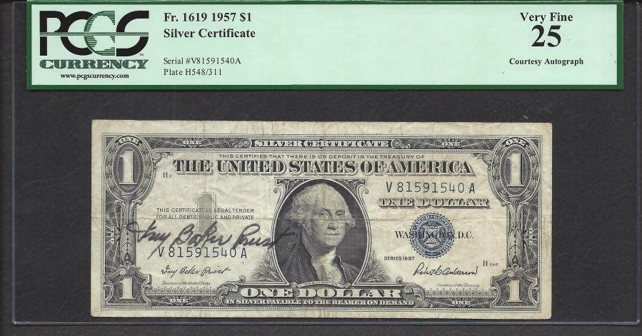 $1 1957 SILVER CERTIFICATE BLUE SEAL IVY BAKER PRIEST A