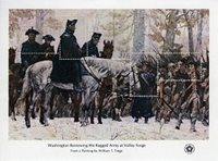 "Scott #1689. Valley Forge souvenir sheet with the 31 cents inscription missing on stamp ""e"" (the last stamp at right). There may be a faint trace of the value, but not easily visible or discernable in normal lighting or UV lighting."