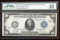 AC Fr 911c 1914 $10 New York FRN PMG 35