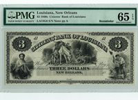 1860's $3 Citizen's Bank of Louisiana Bank Note PMG Gem Uncirculated 65 EPQ