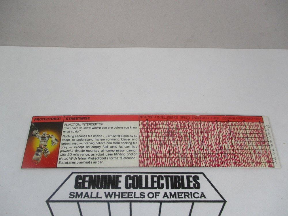 Transformers G1 Parts 1985 red vintage DECODER tech spec file card