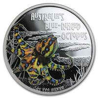 2011 Tuvalu Deadly and Dangerous BLUE RINGED OCTOPUS Silver Proof *Rus RARE!