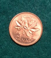 1964 Canada 1 Cent Penny Hanging 4 And Die Clash Under Leaf UNC