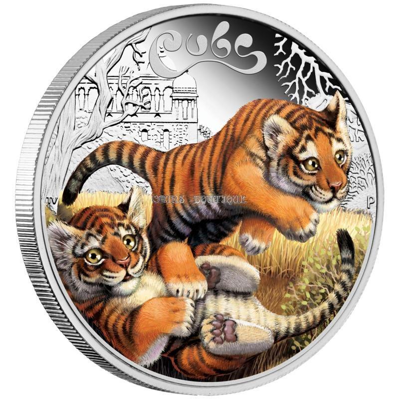 2016 The Jaguar Cubs Tuvalu 1//2 oz SIlver Proof 50c Half Dollar Coin Colorized