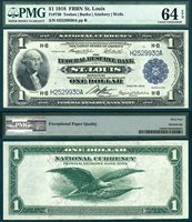 US Currency 1918 $1 Federal Reserve Bank Note PCGS Graded CU64PPQ S/N H2529930A