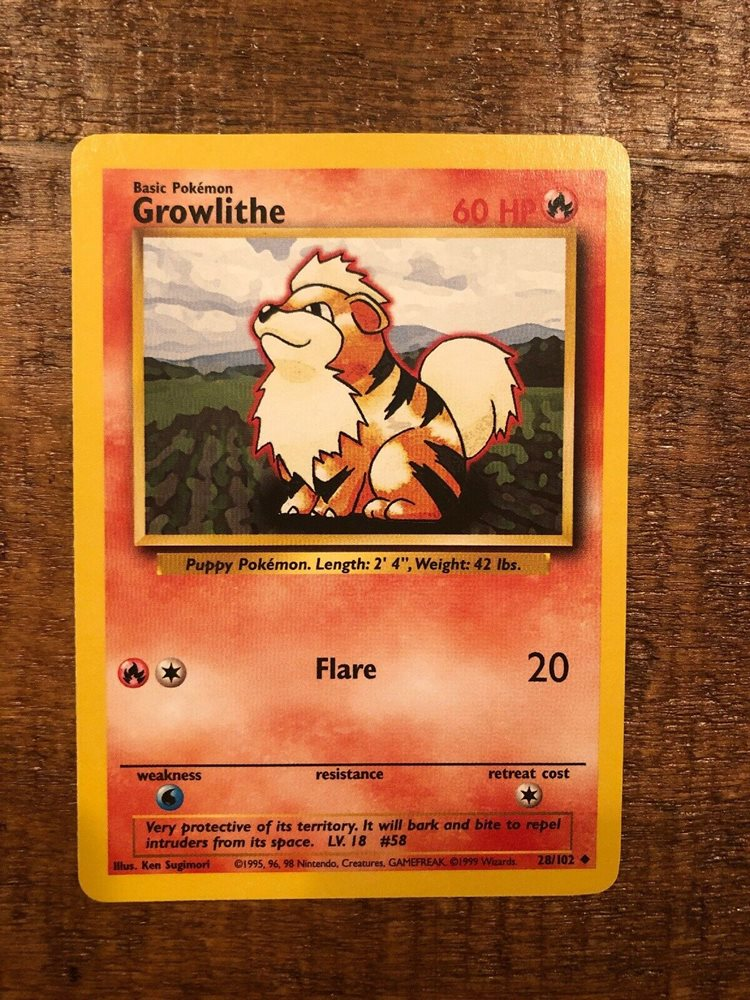 Growlithe 28//102 Base Set Pokemon Card