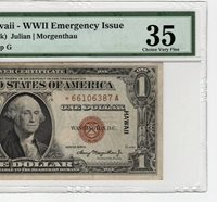*STAR FR2300* 1935-A $1 WWII HAWAII Emerg Provisional Note PMG 35 CHOICE VFINE