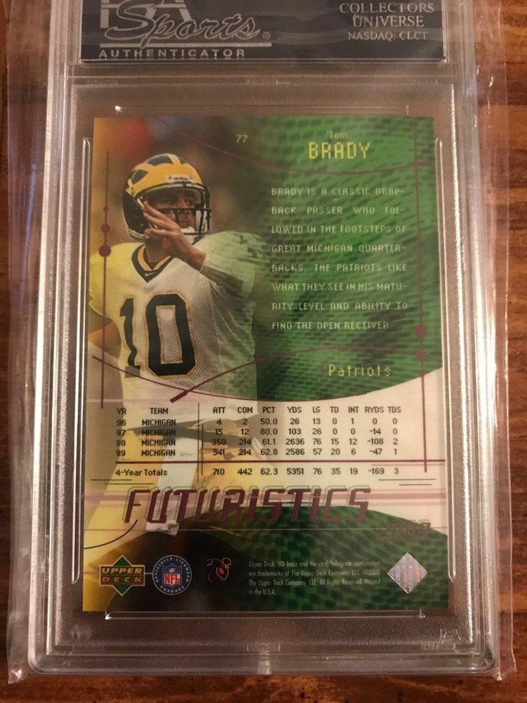 2000 Ud Ionix 77 Tom Brady Rookie Card Psa 10 Gem Mint Nfl Mvp Patriots Goat