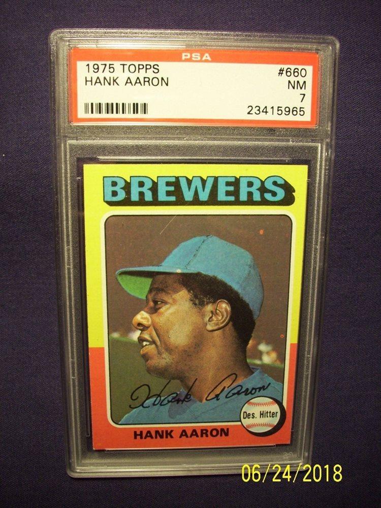 1975 Topps Hank Aaron Card 660 Psa 7 Nm Braves Hofer