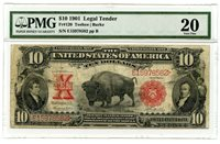 "C11334- 1901 $10 LEGAL TENDER ""BISON"" FR#120 PMG VF20"